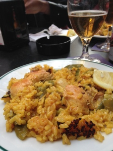 Paella with chicken and rabbit.  Que delicioso!