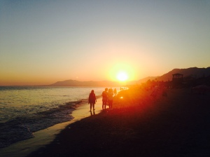 the sunset in Marbella